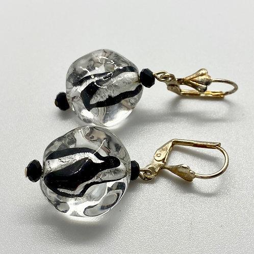 Black & Clear Venetian Earrings by Beads by Beardslee