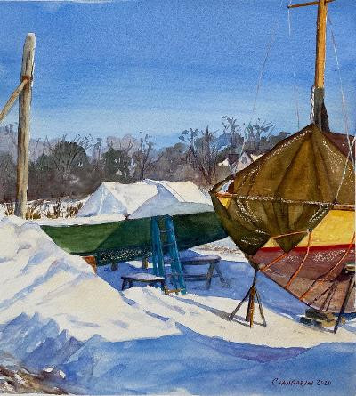 Winter Tarps, Essex Boatyard by Dan Cianfarini