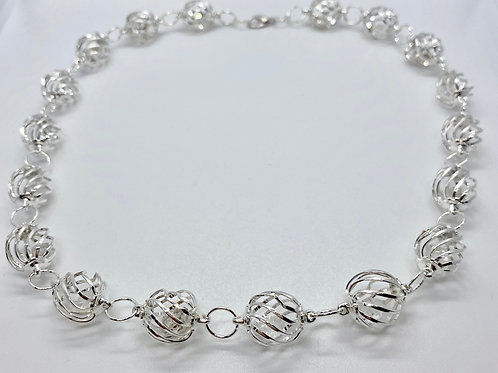 Silver Plated Diamond Quartz Necklace by Beads by Beardslee