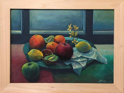 Still Life with a Fruit Plate by Anastasia Semash Art Studio