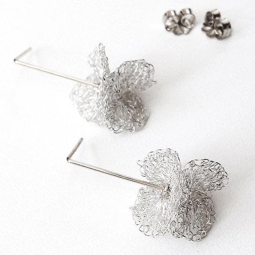 Silver Crochet Drop Earrings, small by Sharon Stafford Metals