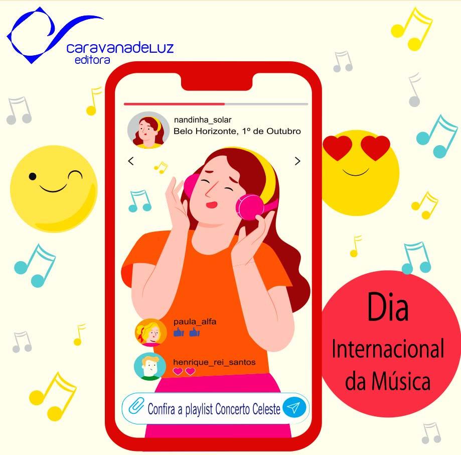 """Jovem ouvindo a playlist, """"Concerto Celeste"""", do Setor Juvenil da FECL. Celebração do Dia Internacional da Música, pela Caravana de Luz Editora."""