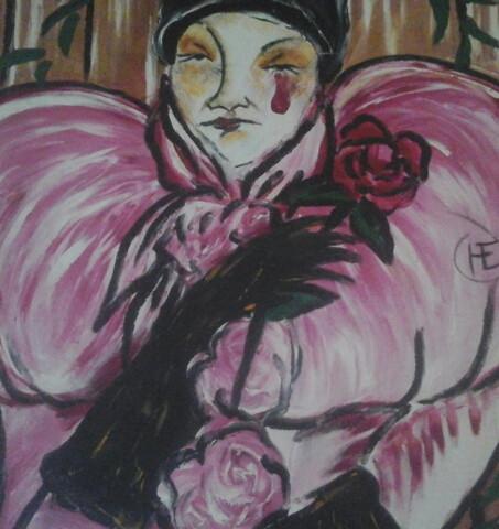 Pintura Mediúnica - Pierrot - Toulouse-Lautrec. Médium Lívio Rocha Barbosa.