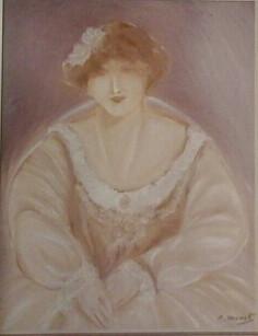 Pintura Mediúnica - Dama Antiga - Monet. Médium Lívio Rocha Barbosa.