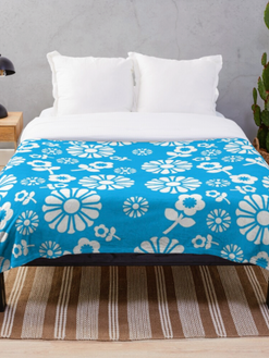 70's Inspired Blue Floral Throw