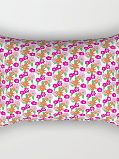 70s Floral Rectangular Pillow