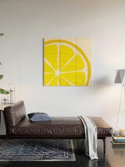 Summer Citrus Lemon Wood-wall-rt