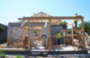 Roofers Building Wood Trusses Roof Frame