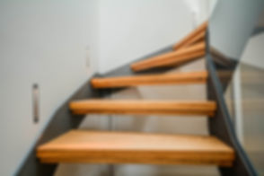 Modern steel staircase with wooden steps