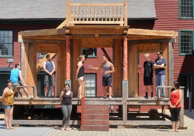 Cast of Love's Labour's Lost, including Ariel Zuckerman, center right // credit: Christine Hochkeppel of Worcester T&G
