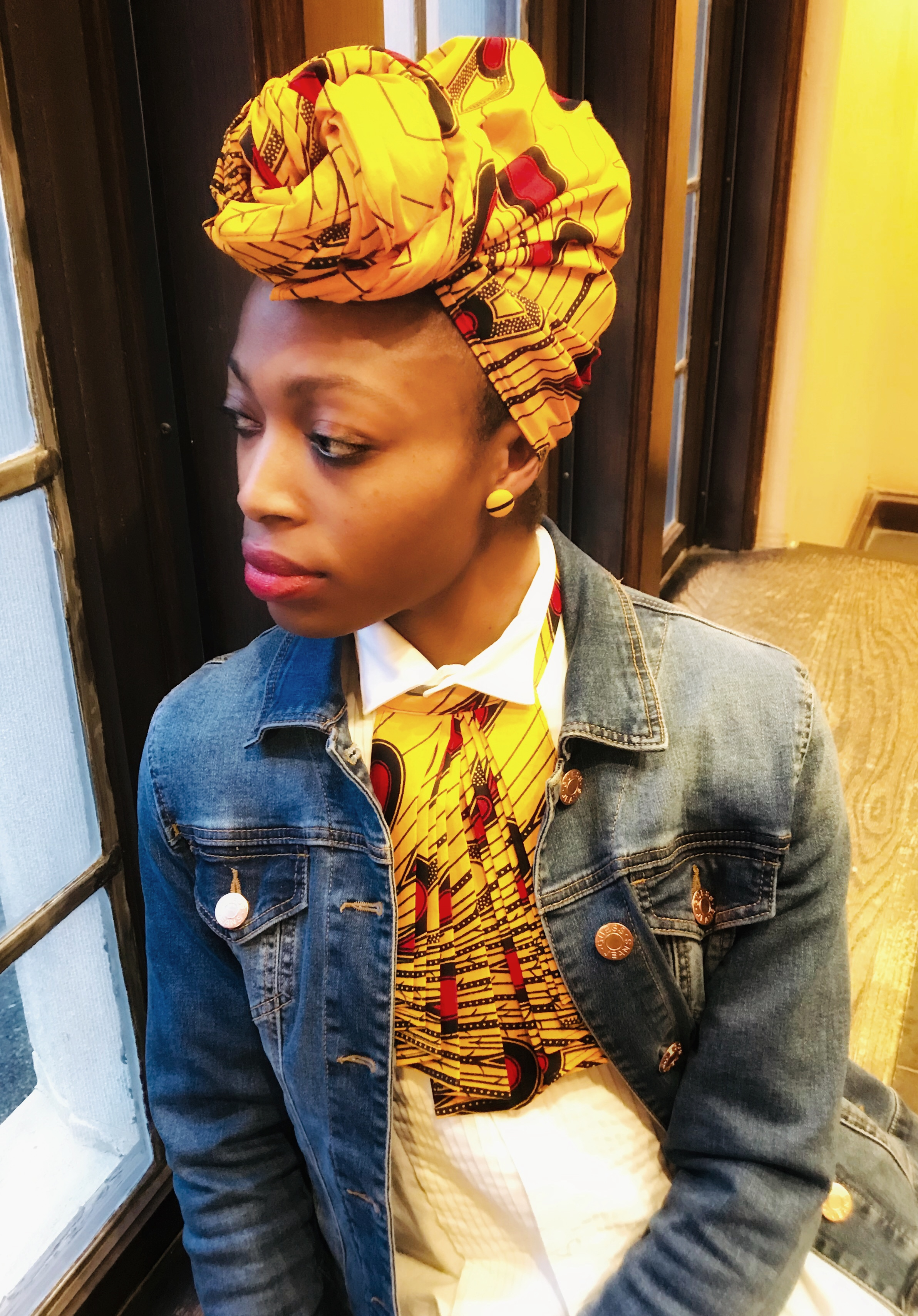 THREAD headwrap, earrings, and jabot
