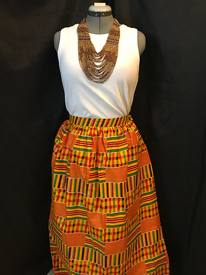 THREAD Long Kente Print Skirt