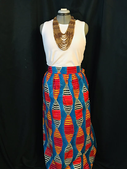 THREAD Long Ankara Print Skirt