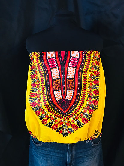Ayo Strapless Dashiki Top