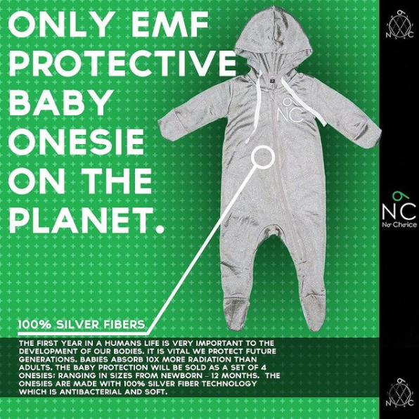 EMF Protection for babies, onesies made with pure silver that shield infants from electromagnetic radiation.