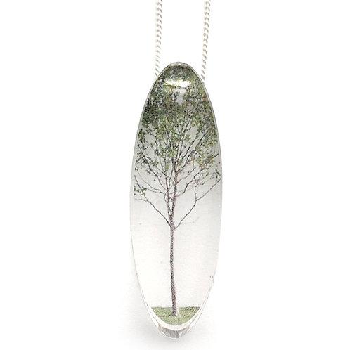 Oval Green Tree Pendant (W)