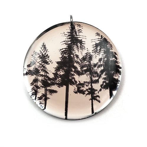 Mirror Round Forest Pendant