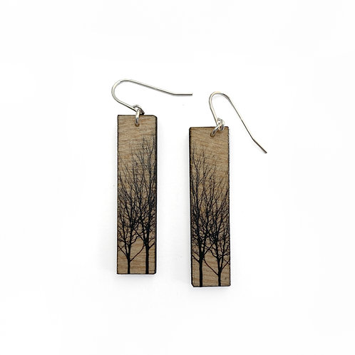 Tall Tree Wood Earrings (W)