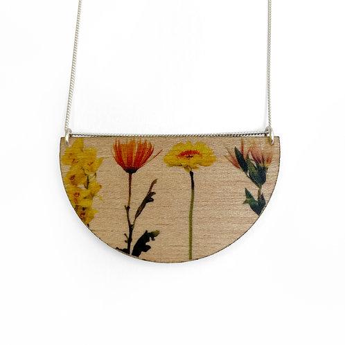 Drop Bouquet Wood Necklace