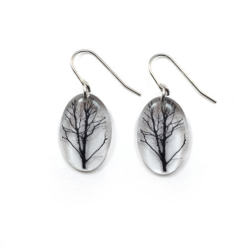 Small Oval Tree Earrings