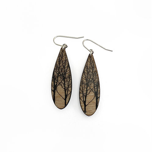 Drip Trees Wood Earrings (W)