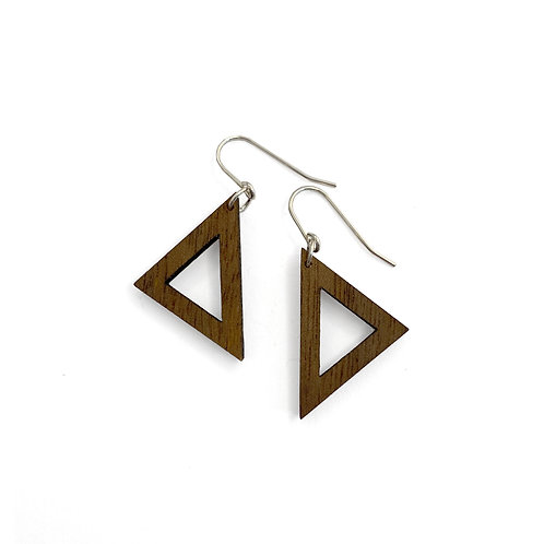 Wood Triangle Earrings (W)