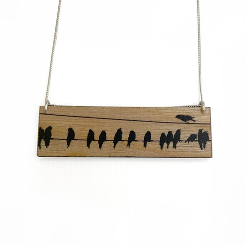 Landscape Crows Wood Necklace (W)
