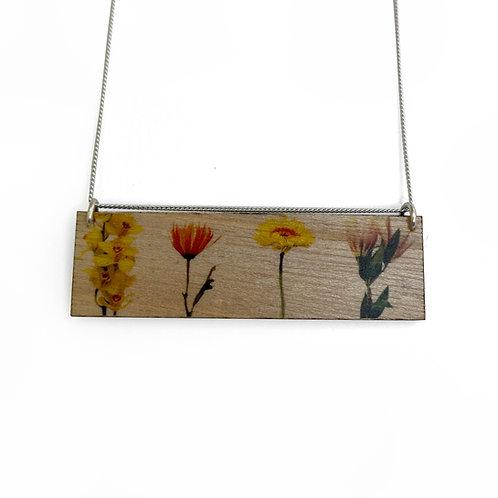 Landscape Bouquet Wood Necklace