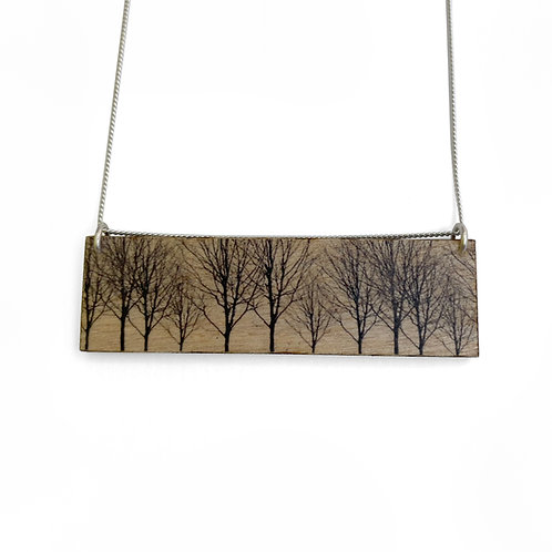 Landscape Trees Wood Necklace