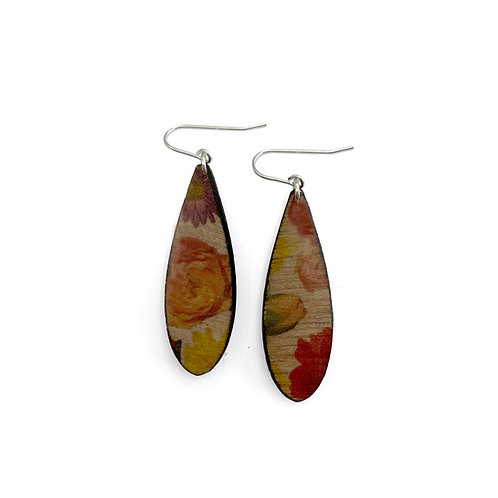 Drip Wallpaper Wood Earrings
