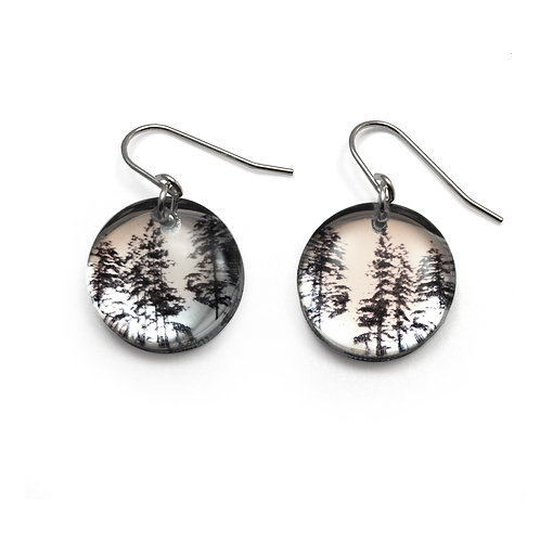 Mirror Round Forest Earrings