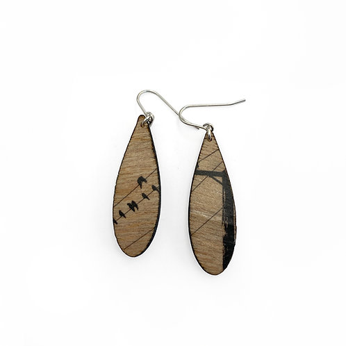 Drip Crows Wood Earrings (W)
