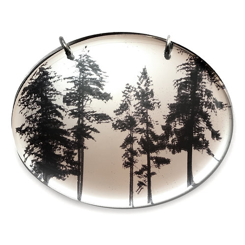 Mirror Oval Forest Pendant