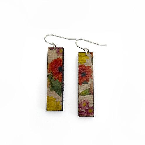 Tall Wallpaper Wood Earrings