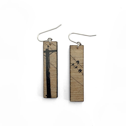 Tall Crows Wood Earrings