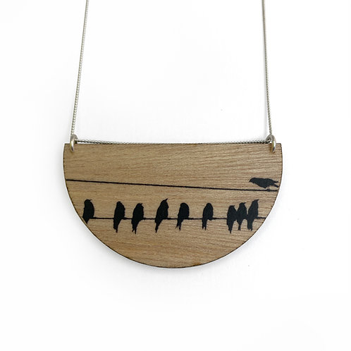 Drop Crows Wood Necklace