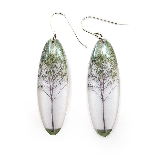 Tall Oval Green Tree Earrings