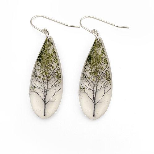 Drip Green Tree Earrings
