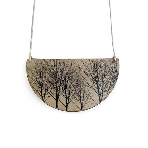 Drop Trees Wood Necklace