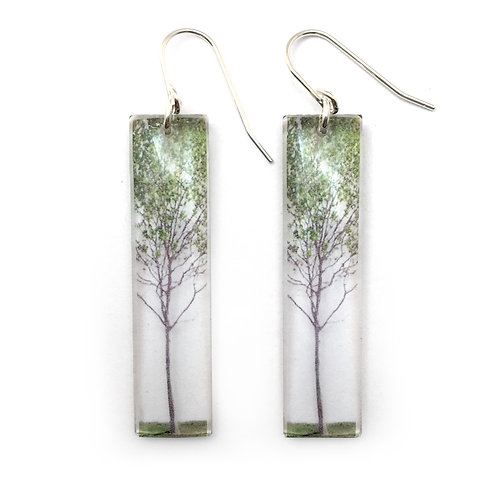 Tall Green Tree Earrings