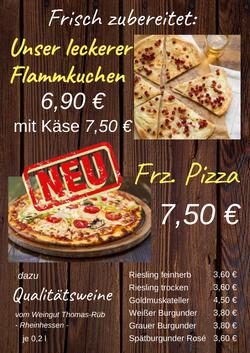 Karte Flammkuchen, Pizza+Wein