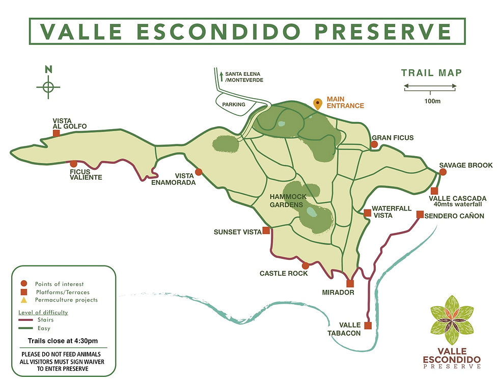 Nature Reserve Map Valle Escondido Monteverde Costa Rica
