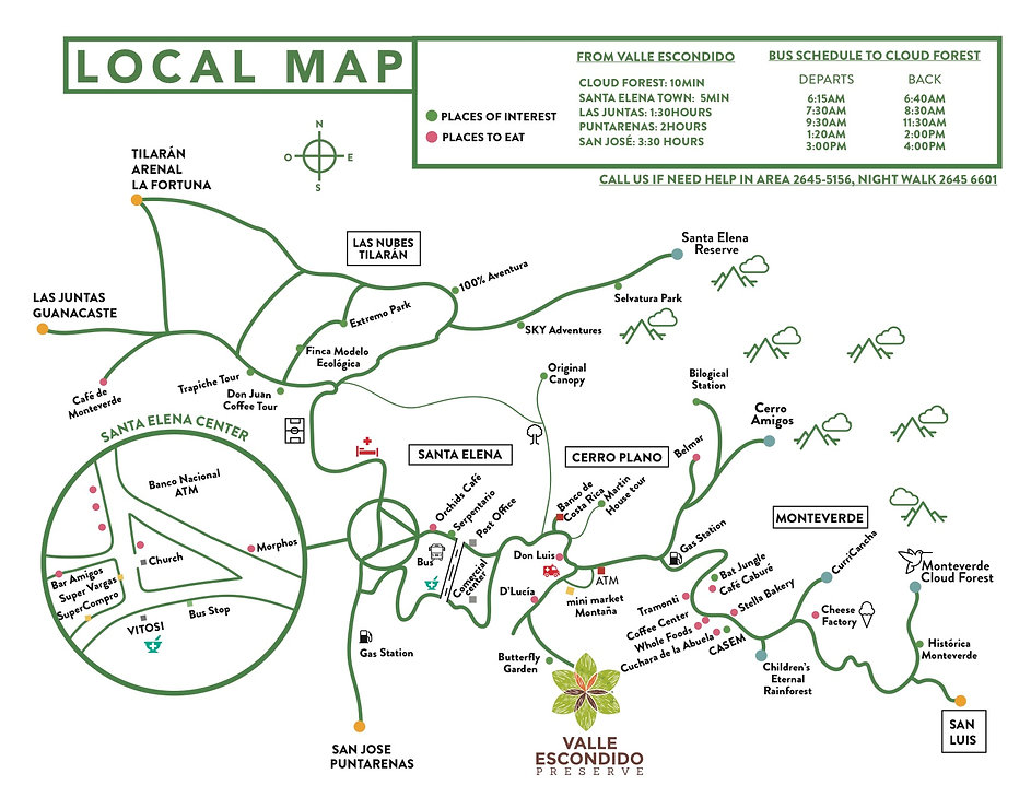 Local Area Map Monteverde Costa Rica Valle Escondido Preserve Monteverde Inn