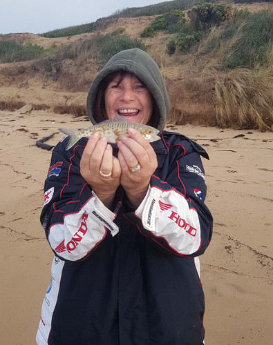 Bronwyn with a huge catch from the surf!!!
