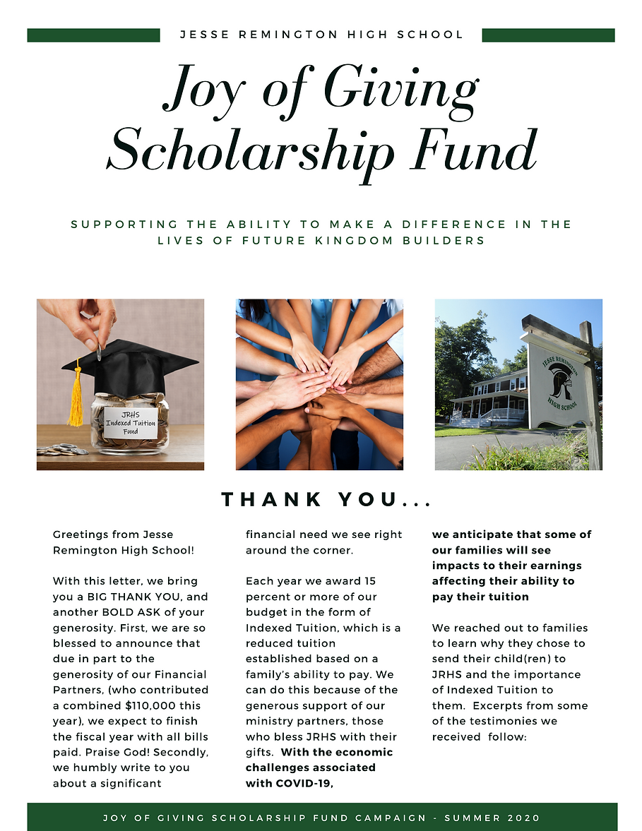 Joy of Giving Scholarship Fund Campaign