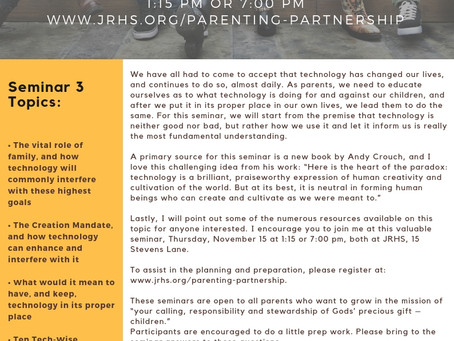 Please join us for Parenting Parternship this month!
