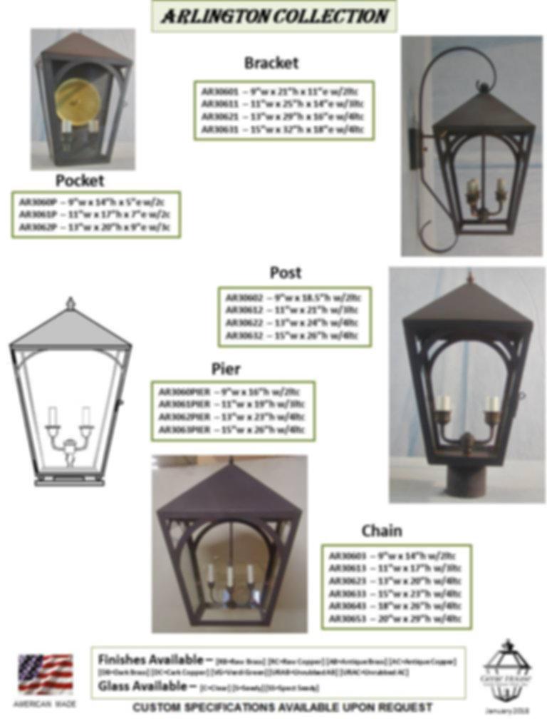 AR306 Arlington Collection Bracket Lantern, Pocket Lantern, Post Lantern, Pier Lantern, Chain Lantern
