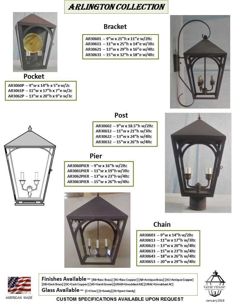 AR306 Arlington Collection Bracket Lantern, Pocket Lantern, Post Lantern, Pier Lantern, Chain Lantern