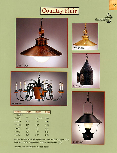 Country Flair 72113, 72103, 71013, 74813, 75513 Pendant Lights, Chandalier