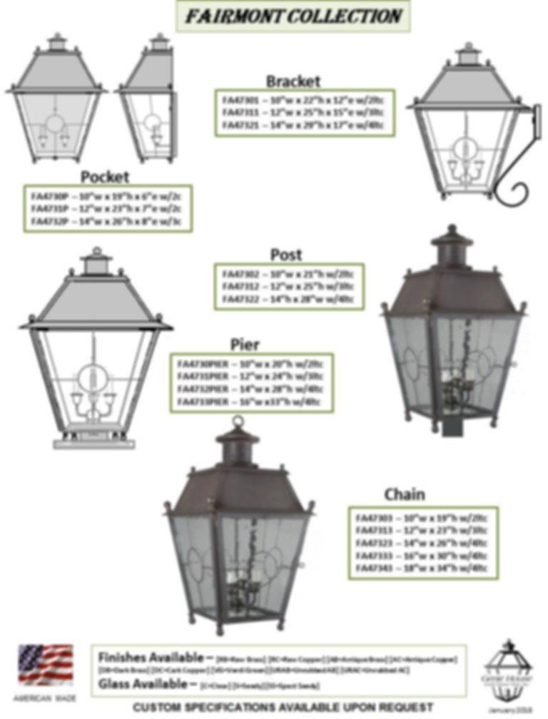 FA473 Fairmont Collection Bracket Lantern, Pocket Lantern, Post Lantern, Pier Lantern, Chain Lantern